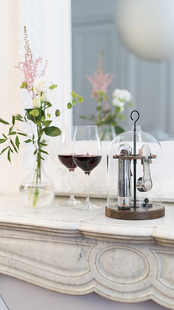 coffret vin cloche verre globe bois